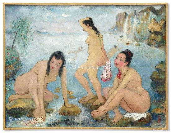 潘玉良 《海边五裸女》油画画布 50x65cm 约1958年作 成交价:2768.4万港元