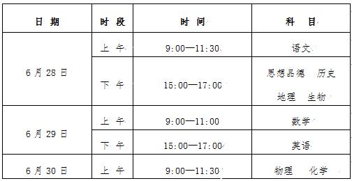 2018年宁夏中考6月28日开考