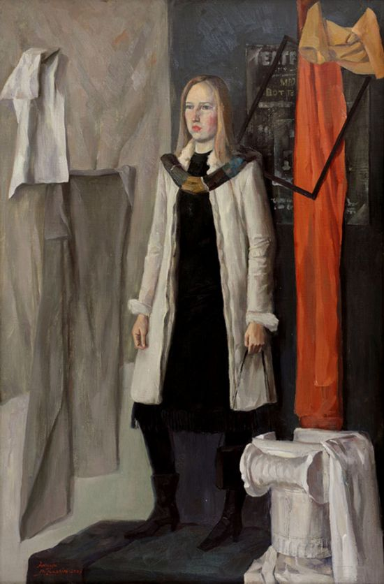 站立的俄罗斯少女肖像写生 (布面油画)   2003年