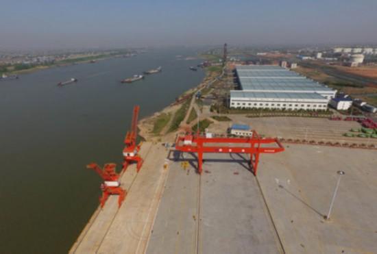一期工程基本建成的长沙铜官港(4月9日无人机航拍)。