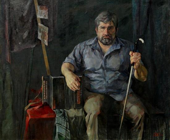 俄罗斯伤残者写生 (布面油画) 2003年