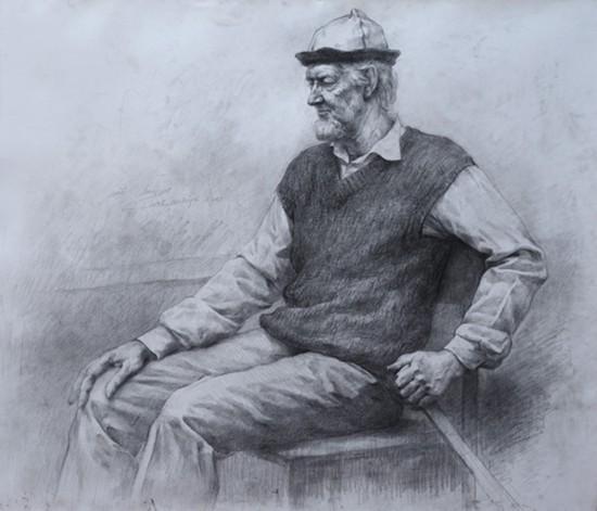 俄罗斯中年男士 (素描)  2003年