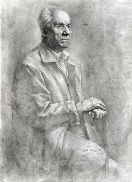 俄罗斯男士半身肖像写生 (素描)  2004年