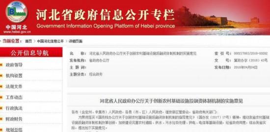 """河北省规定社会资本参与农村基础设施建设""""非禁即入"""""""