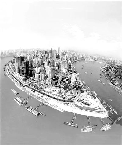 图为朝天门广场俯瞰图,最左侧几幢并列的最高楼为即将竣工的来福士图片