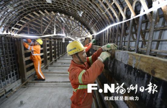 福州地铁2号线紫五区间联络通道贯通 全长66米