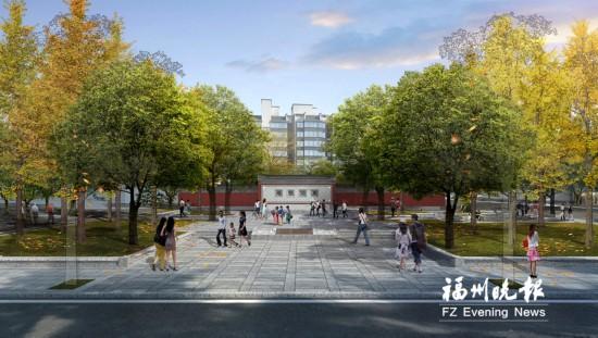 福州文庙新建一个小广场 本月基本可以建成