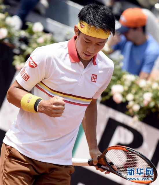 (体育)(3)网球――意大利公开赛:锦织圭晋级