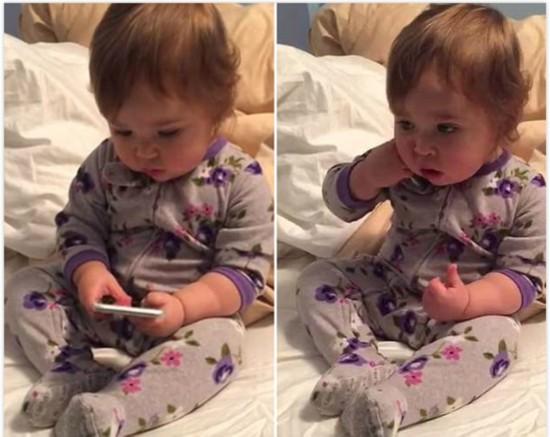 美1岁半宝宝模仿CEO妈妈打电话 动作神同步
