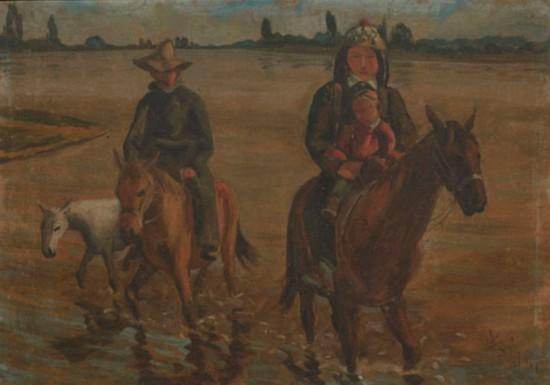 渡河(新疆),作者:韩乐然,创作年代:1945,规格:64x91cm