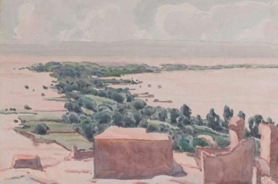 高昌古国废墟,作者:韩乐然,创作年代:1946,规格:32x47.5cm