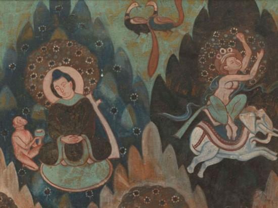 骑象佛与猴子献果图克孜尔38窟,作者:韩乐然,创作年代:1946,规格:49x65cm