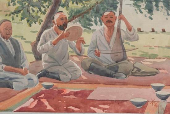 南疆著名乐师,作者:韩乐然,创作年代:1946,规格:32x47.5cm