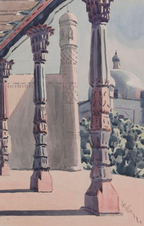 香妃墓门香妃墓旁的礼拜寺,作者:韩乐然,创作年代:1946,规格:48x32cm