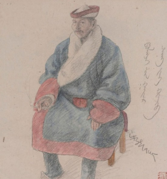 素描蒙古人像,作者:韩乐然,创作年代:1945,规格:41x3.75cm