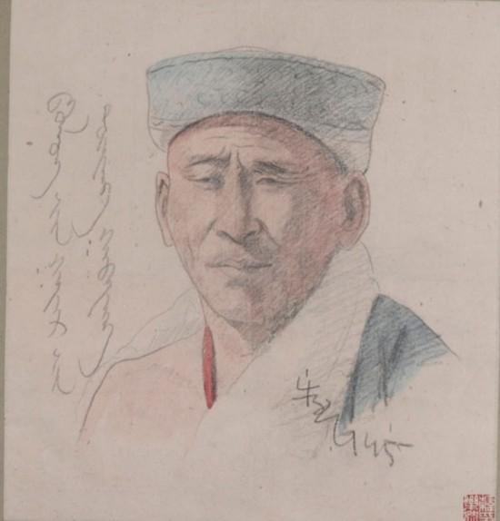 素描藏族男人像,作者:韩乐然,创作年代:1945,规格:41x37.5cm