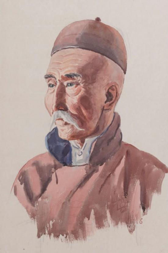 蒙古老人,作者:韩乐然,创作年代:1946,规格:47.5x32cm