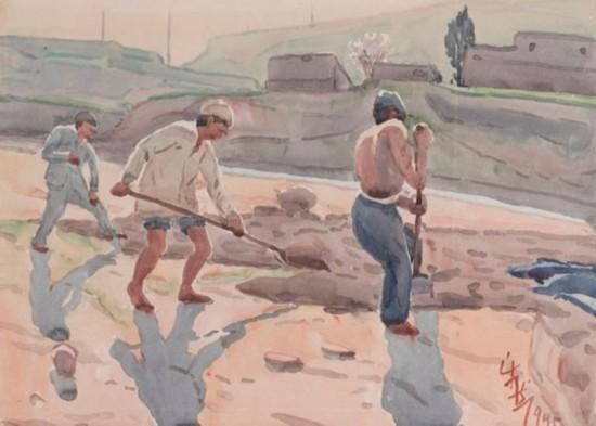 河西走廊挖地,作者:韩乐然,创作年代:1945,规格:37x50cm