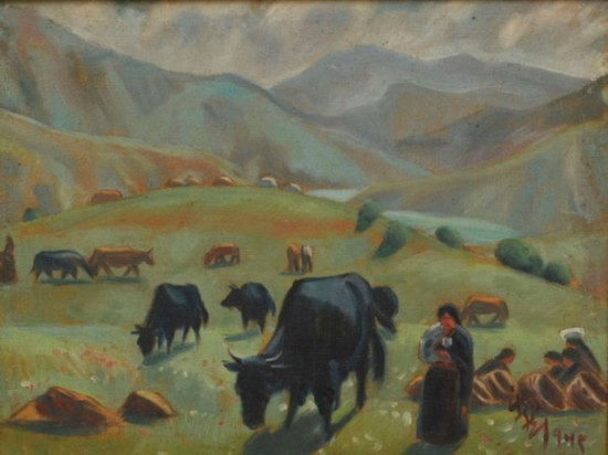 牧场(甘南藏族自治州)作者:韩乐然,创作年代:1945,规格:49x64cm