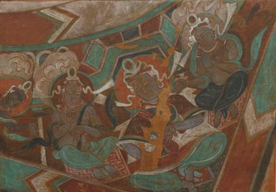 摹绘天花板上的三佛像图 克孜尔67窟,作者:韩乐然,创作年代:1946,规格:63x48cm