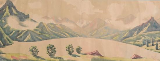 天池全景 创作年代:1946,规格:29x75cm