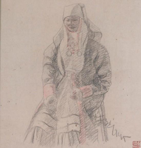 素描哈萨克女人像,作者:韩乐然,创作年代:1945,规格:40.5x28cm