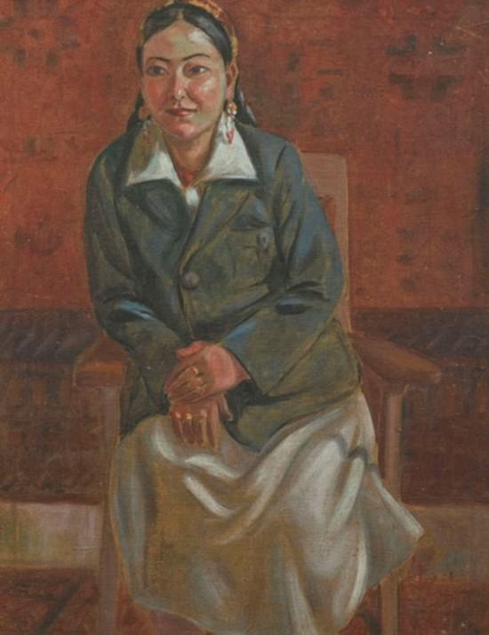 维族女校长,作者:韩乐然,创作年代:1946,规格64x49cm: