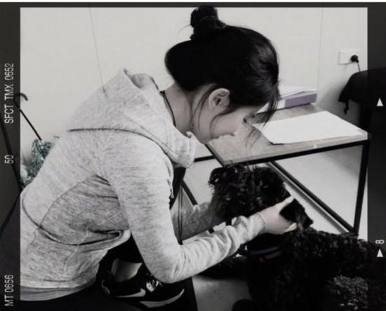 刘亦菲穿运动服与狗狗玩耍 秀纤细玉颈侧颜吸睛
