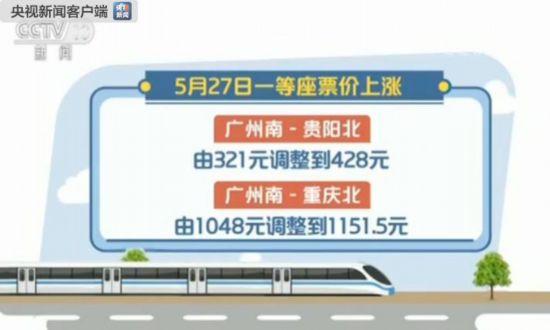 5月27日起部分动车一等座票价上调