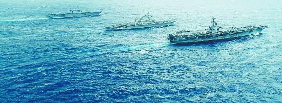 """美日印海上演习瞄准解放军 模拟""""猎杀""""中国潜艇"""