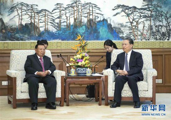 (时政)赵乐际会见老挝人民革命党中央总书记、国家主席本扬