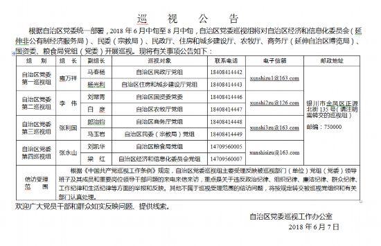 十二届宁夏回族自治区党委第三轮巡视工作正式启动