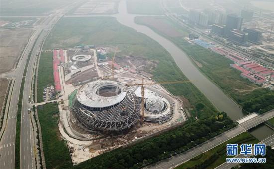 (社会)(1)上海天文馆初具规模 主体建筑大悬挑支撑结构开始卸载