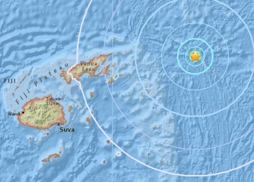 斐济东北部海域发生5.5级地震。(图片来源:美国地质勘探局网站截图)