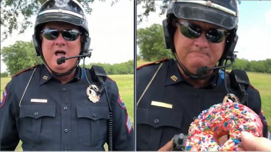 """美交警收受甜甜圈""""贿赂""""曝光原是拍搞笑视频"""