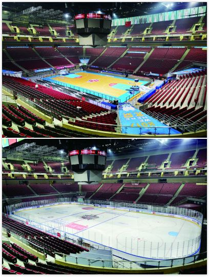 The photo on top shows an interior view of the Wukesong Arena, the photo at the bottom shows the arena turned into an ice hockey rink within one night in 2016. [File Photo: fawan.com]