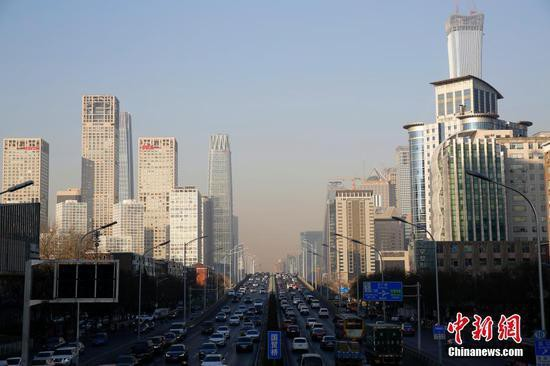 A view of the CBD area in Beijing on Jan. 12, 2018. [Photo: Chinanews.com]