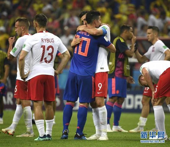 (世界杯)(2)足球――H组:哥伦比亚队胜波兰队