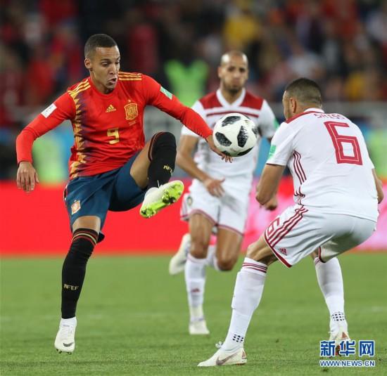 (世界杯)(1)足球――B组:西班牙队战平摩洛哥队