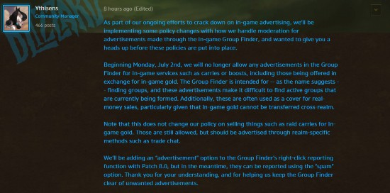 Blizzard blue post: a crackdown on the game advertising behavior within the team and team finder