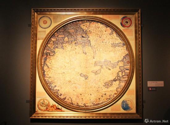 弗拉・毛罗世界地图  1459年 弗拉・毛罗绘制  250x250cm 原件收藏于意大利威尼斯马尔恰那国家图书馆