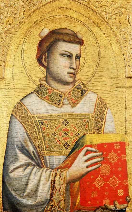 圣史蒂芬  1320年―1325年 乔托・迪邦多内  木板坦培拉84cm×54cm  意大利佛罗伦萨霍恩基金会藏