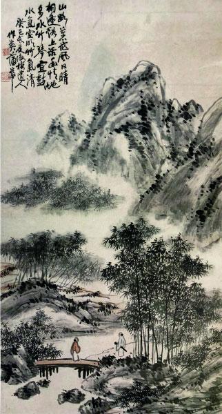 山晴水明图(国画) 144×77.5厘米 1893年 蒲华 江苏省美术馆藏