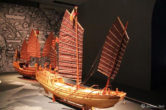 """""""蓬莱一号""""古船模型   上海中国航海博物馆藏"""