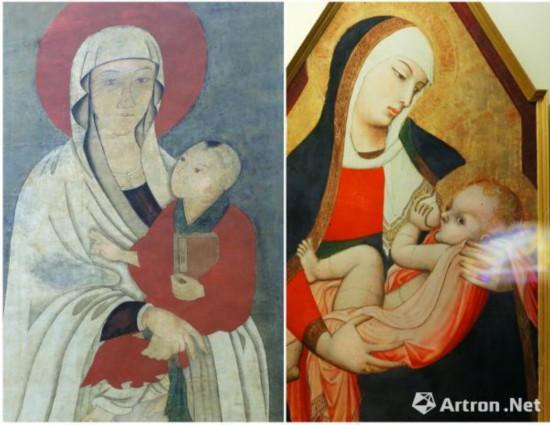 左图是唐伯虎 款的送子观音像 原件收藏于美国菲尔德自然历史博物馆右侧是欧洲16世纪木板油画 《罗马人民的保护者圣母玛利亚像》  意大利罗马圣安德烈教堂收藏