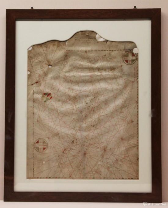 航海图 1311年  皮埃特罗・维斯孔特绘制   兽皮纸,彩绘  47x62cm  意大利佛罗伦萨国家档案馆藏