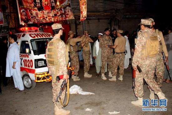 (国际)(3)巴基斯坦一政治集会遭自杀式爆炸袭击13人死亡
