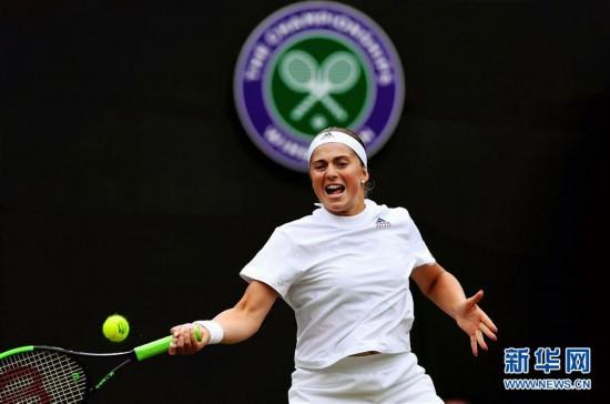 (体育)(1)网球――温网:奥斯塔彭科晋级四强