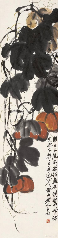 齐白石《南瓜》 纸本设色 139x34cm 无年款 北京画院藏