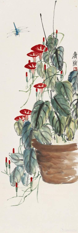 齐白石《牵牛蜻蜓》 纸本设色 102x34cm 无年款 北京画院藏题款:齐璜